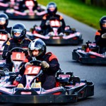 adult group on karting track