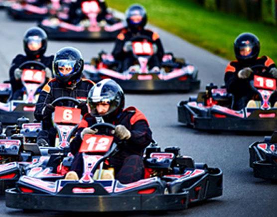adult group on karting track
