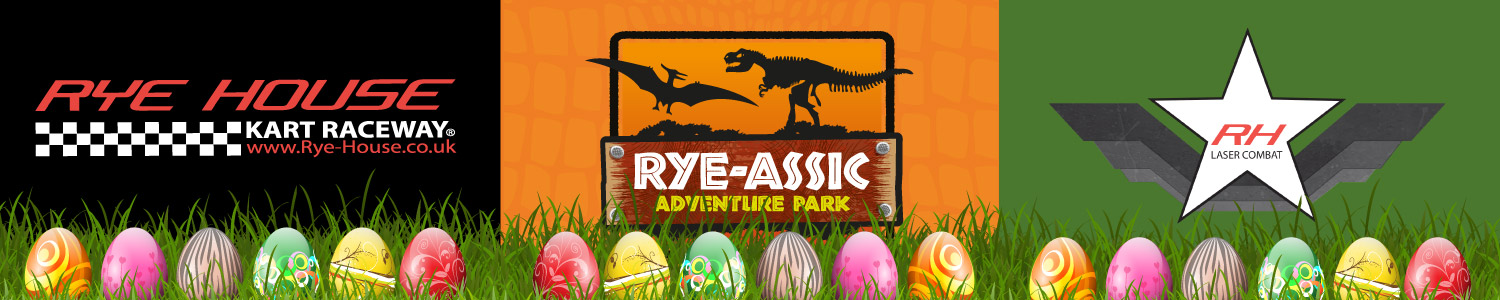 Rye House Kart Raceway, Rye-Assic Adventure Park, RH Laser Combat. Hertford, Essex and London's . Fun days out for ALL the family.